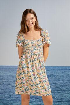 Womensecret Короткое платье с объемными рукавами и цветочным принтом  бежевый