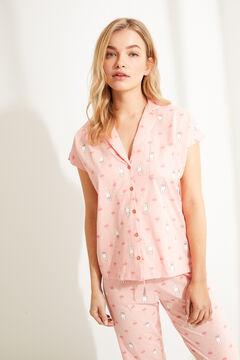 Womensecret Длинная пижама рубашечного типа с принтом «Миффи» розового цвета розовый