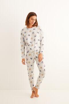 Womensecret Длинная хлопковая пижама «Коржик» серый