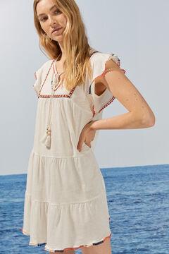 Womensecret Короткое платье с рукавами «колокол», вышивкой и помпонами бежевый