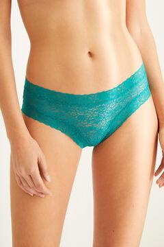 Womensecret Широкие трусики-бразилиана из кружева синего цвета зеленый