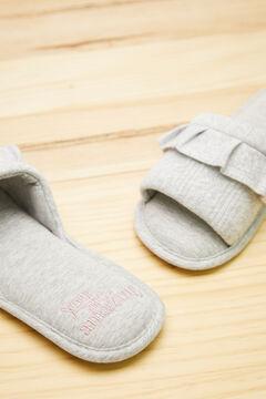 Womensecret Открытые домашние тапочки из хлопка серого цвета серый