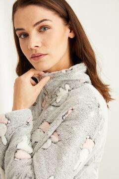 Womensecret Флисовый халат с длинными рукавами «Миффи» серый