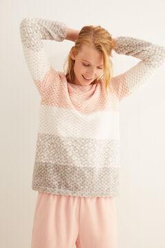 Womensecret Длинная пижама с анималистичным и полосатым принтом розовый