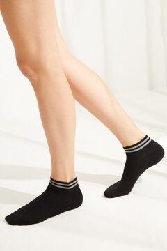 Womensecret Набор из 3 пар хлопковых коротких носков черного цвета с люрексом черный