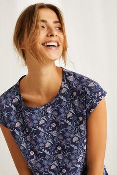 Womensecret Синяя ночная рубашка миди без рукавов с цветочным принтом голубой