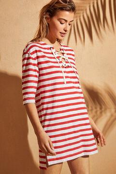 Womensecret Трикотажное платье-туника в полоску красного цвета цветной