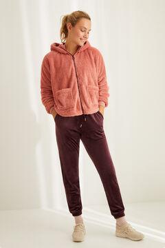Womensecret Розовый короткий халат из пушистого флиса розовый