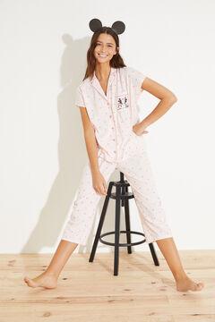 Womensecret Пижама в рубашечном стиле с брюками капри из хлопка розовый