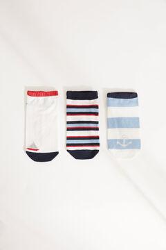 Womensecret Набор из 3 пар хлопковых коротких носков темно-синего цвета в полоску голубой
