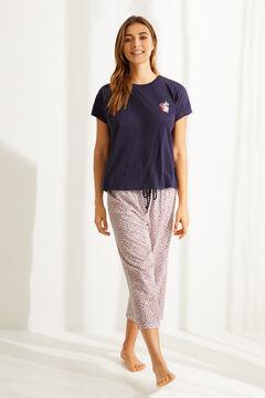 Womensecret Пижама капри из органического хлопка с цветочной вышивкой синего цвета серый