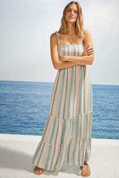 Womensecret Платье миди в полоску с завязками бежевый