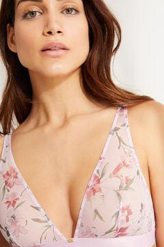 Womensecret Бюстгальтер с треугольными чашками халтер без наполнителя с цветочным узором розовый