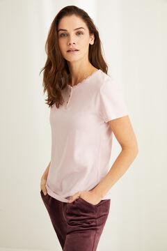 Womensecret Розовая футболка из хлопка с круглой горловиной на пуговицах и кружевом розовый