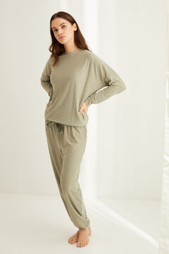 Womensecret Невероятно мягкая длинная пижама в полоску зеленого цвета цветной