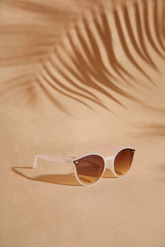 Womensecret Круглые солнцезащитные очки и золотистый футляр бежевый