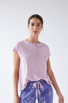 Womensecret Сиреневая хлопковая футболка с круглой горловиной на пуговицах розовый