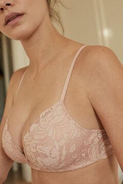 Womensecret LOVELY Розовый бюстгальтер с треугольными чашками с кружевом розовый