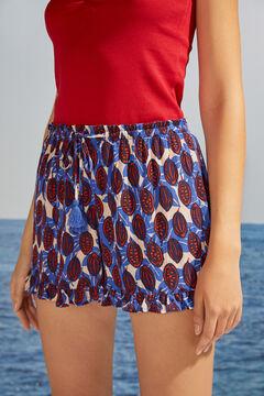 Womensecret Струящиеся шорты с тропическим принтом синего цвета бежевый
