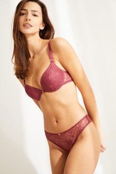 Womensecret Розовые трусики-бразилиана из кружева и тюля розовый