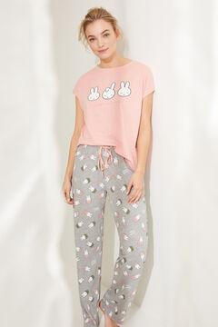 Womensecret Длинная хлопковая пижама с верхом с короткими рукавами «Миффи» розовый