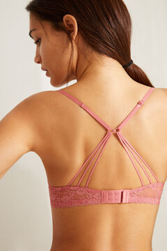 Womensecret Розовый кружевной бюстгальтер пуш-ап GORGEOUS с тесемками на спине розовый