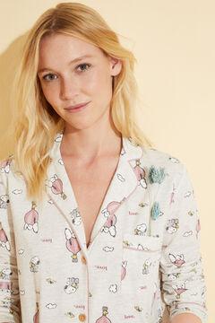 Womensecret Ночная рубашка миди в рубашечном стиле из хлопка «Снупи» бежевый