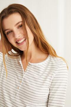 Womensecret Хлопковая футболка с длинными рукавами и круглой горловиной на пуговицах с полосатым принтом цветной