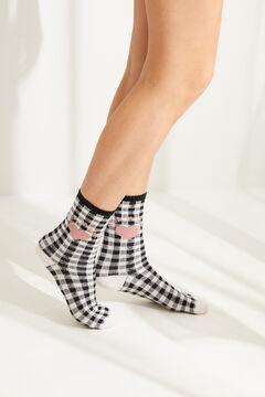 Womensecret Черные носки средней длины в клетку «виши» черный