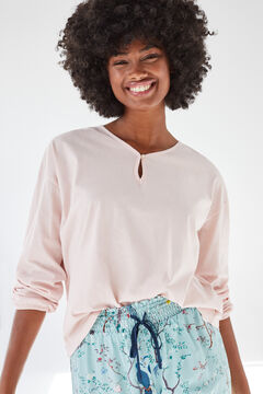 Womensecret Хлопковая футболка розового цвета с длинными рукавами розовый