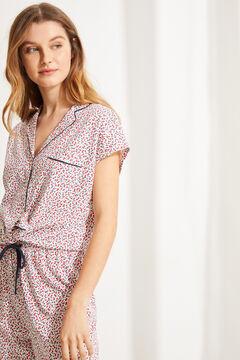 Womensecret Пижама в рубашечном стиле из хлопка с цветочным принтом бежевый