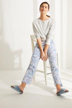 Womensecret Синие длинные брюки-палаццо из хлопка с цветочным принтом голубой