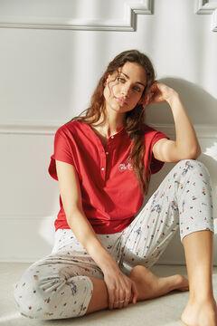 Womensecret Длинная пижама из органического хлопка с цветочным принтом и вышитым велосипедом красный