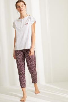 Womensecret Короткая пижама из органического хлопка серого цвета с цветочным принтом и велосипедами серый