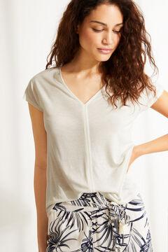 Womensecret Белая льняная футболка с треугольным вырезом бежевый
