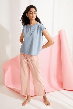 Womensecret Синяя футболка из хлопка с короткими рукавами и круглой горловиной на пуговицах голубой