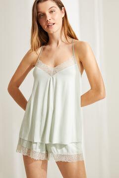 Womensecret Короткая пижама с верхом на бретелях из невероятно мягкого трикотажа зеленого цвета зеленый