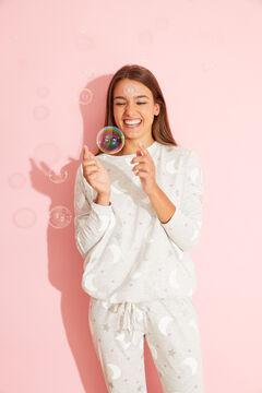 Womensecret Длинная хлопковая пижама серого цвета с принтом «Луна» серый