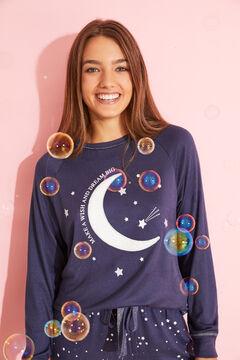 Womensecret Длинная синяя пижама с принтом «Луна»  голубой