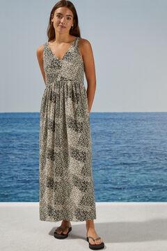 Womensecret Длинное платье с  цветочным принтом цветной