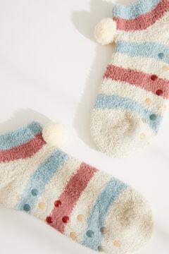 Womensecret Пушистые короткие носки в разноцветную полоску цветной