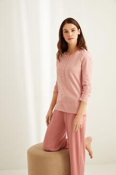 Womensecret Розовая хлопковая футболка с длинными рукавами и круглой горловиной на пуговицах с полосатым принтом цветной