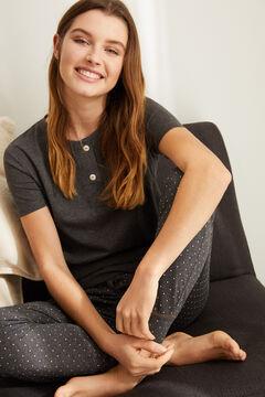 Womensecret Серая футболка с широкой круглой горловиной на пуговицах серый