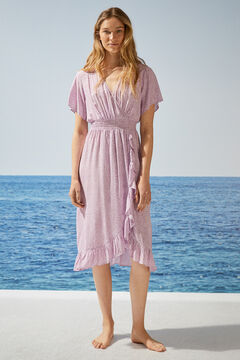 Womensecret Платье средней длины с запахом, принтом в горошек и оборками розовый
