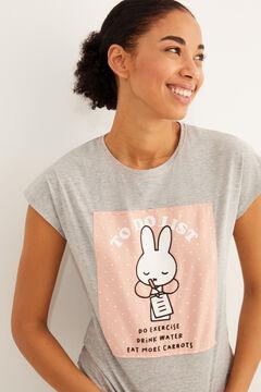 Womensecret Длинная пижама из хлопка с принтом «Миффи»  серый