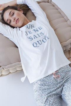 Womensecret Длинная пижама из органического хлопка цвета слоновой кости бежевый