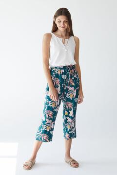 Womensecret Длинные брюки с тропическим принтом зеленый