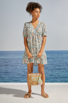 Womensecret Короткое платье с цветочным принтом и оборками из экоматериалов зеленый