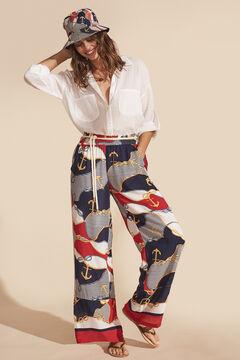 Womensecret Длинные широкие брюки струящегося кроя с морским принтом цветной