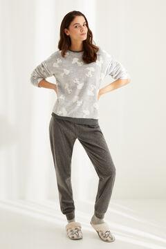 Womensecret Серая длинная пижама из флиса «Снупи»  серый